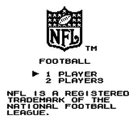 Title screen of NFL Football on the Nintendo Game Boy.