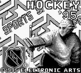 Title screen of NHL Hockey '95 on the Nintendo Game Boy.