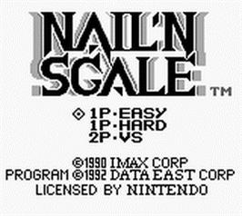 Title screen of Nail'N Scale on the Nintendo Game Boy.