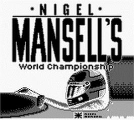 Title screen of Nigel Mansell's World Championship on the Nintendo Game Boy.