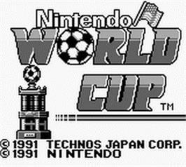 Title screen of Nintendo World Cup on the Nintendo Game Boy.