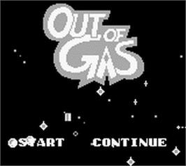 Title screen of Out of Gas on the Nintendo Game Boy.