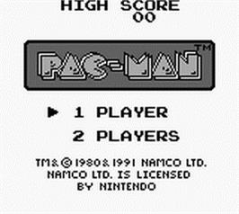 Title screen of Pac-Man on the Nintendo Game Boy.