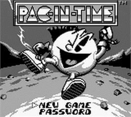 Title screen of Pac-in-Time on the Nintendo Game Boy.