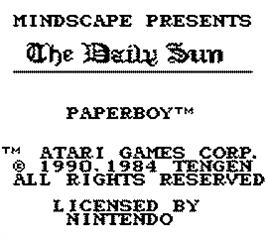 Title screen of Paperboy on the Nintendo Game Boy.