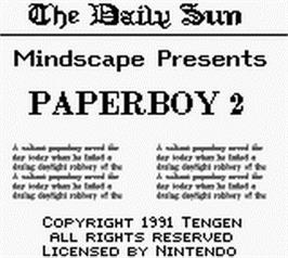 Title screen of Paperboy 2 on the Nintendo Game Boy.