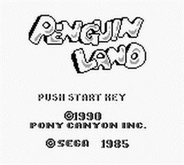 Title screen of Penguin Land on the Nintendo Game Boy.