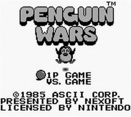 Title screen of Penguin Wars on the Nintendo Game Boy.