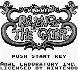 Title screen of Pinball:  Revenge of the 'Gator on the Nintendo Game Boy.