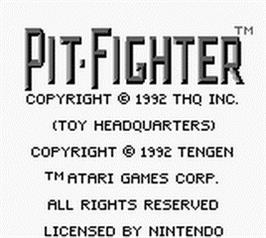 Title screen of Pit Fighter on the Nintendo Game Boy.