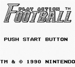 Title screen of Play Action Football on the Nintendo Game Boy.