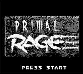 Title screen of Primal Rage on the Nintendo Game Boy.