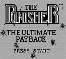 Title screen of Punisher: Ultimate Payback on the Nintendo Game Boy.