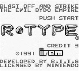 Title screen of R-Type on the Nintendo Game Boy.