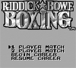Title screen of Riddick Bowe Boxing on the Nintendo Game Boy.