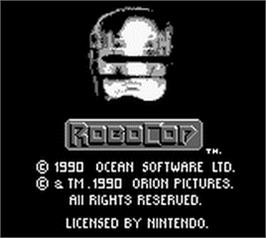 Title screen of Robocop on the Nintendo Game Boy.