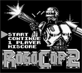 Title screen of Robocop 2 on the Nintendo Game Boy.