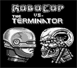 Title screen of Robocop vs. the Terminator on the Nintendo Game Boy.