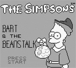 Title screen of Simpsons: Bart & the Beanstalk on the Nintendo Game Boy.