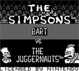 Title screen of Simpsons: Bart vs. the Juggernauts on the Nintendo Game Boy.