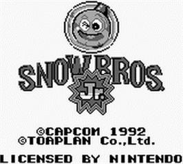 Title screen of Snow Bros. Nick & Tom on the Nintendo Game Boy.