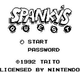 Title screen of Spanky's Quest on the Nintendo Game Boy.