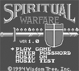 Title screen of Spiritual Warfare on the Nintendo Game Boy.