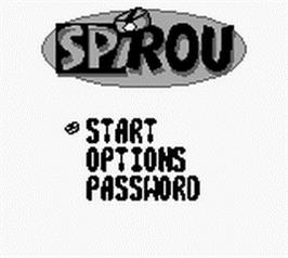 Title screen of Spirou on the Nintendo Game Boy.