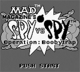 Title screen of Spy vs Spy - Operation Boobytrap on the Nintendo Game Boy.