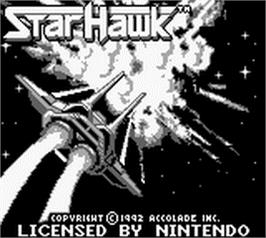 Title screen of StarHawk on the Nintendo Game Boy.