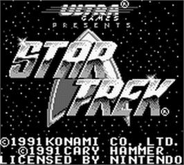 Title screen of Star Trek 25th Anniversary on the Nintendo Game Boy.