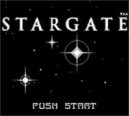 Title screen of Stargate on the Nintendo Game Boy.