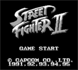 Title screen of Street Fighter II - The World Warrior on the Nintendo Game Boy.