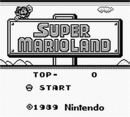 Title screen of Super Mario Land on the Nintendo Game Boy.