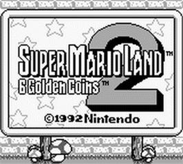 Title screen of Super Mario Land 2: 6 Golden Coins on the Nintendo Game Boy.
