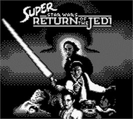 Title screen of Super Star Wars: Return of the Jedi on the Nintendo Game Boy.