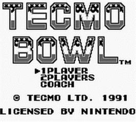 Title screen of Tecmo Bowl on the Nintendo Game Boy.