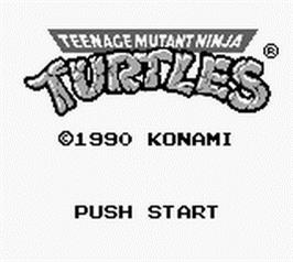 Title screen of Teenage Mutant Ninja Turtles:  Fall of the Foot Clan on the Nintendo Game Boy.