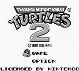 Title screen of Teenage Mutant Ninja Turtles II:  Back from the Sewers on the Nintendo Game Boy.