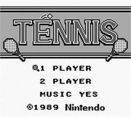 Title screen of Tennis on the Nintendo Game Boy.