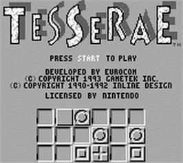 Title screen of Tesserae on the Nintendo Game Boy.