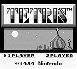 Title screen of Tetris on the Nintendo Game Boy.