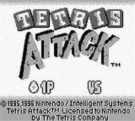 Title screen of Tetris Attack on the Nintendo Game Boy.