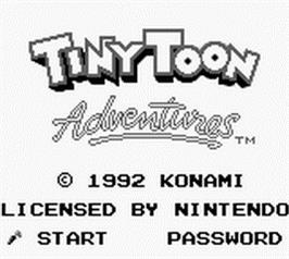 Title screen of Tiny Toon Adventures: Wacky Sports Challenge on the Nintendo Game Boy.