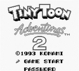 Title screen of Tiny Toon Adventures 2: Montana's Movie Madness on the Nintendo Game Boy.