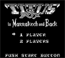 Title screen of Titus the Fox: To Marrakech and Back on the Nintendo Game Boy.