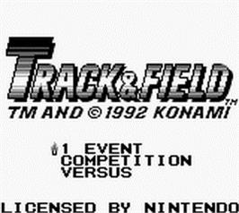 Title screen of Track & Field on the Nintendo Game Boy.