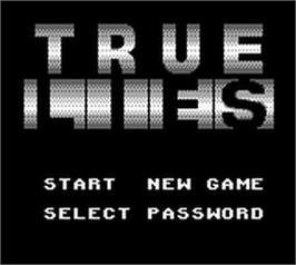 Title screen of True Lies on the Nintendo Game Boy.