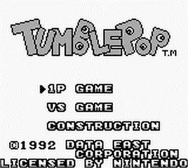 Title screen of Tumble Pop on the Nintendo Game Boy.