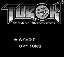 Title screen of Turok: Battle of the Bionosaurs on the Nintendo Game Boy.